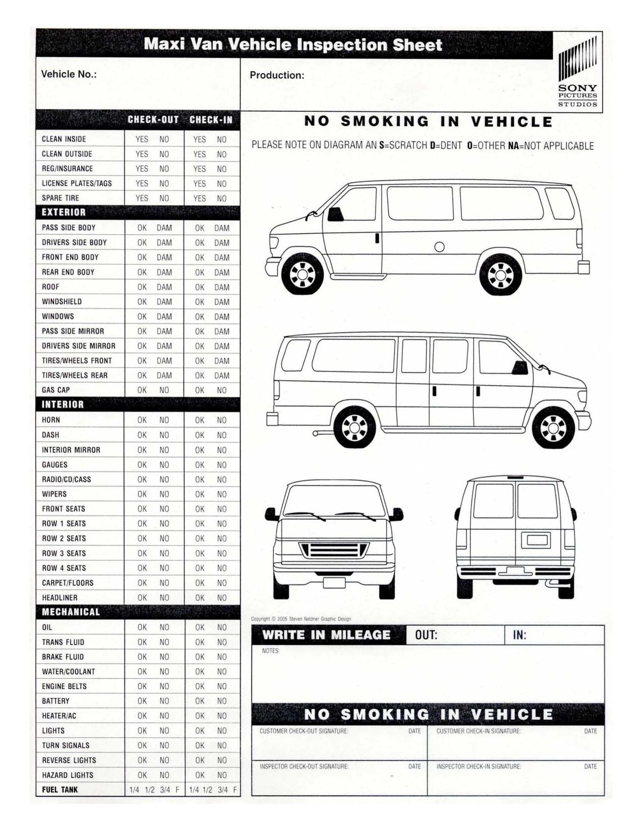 Clipart Car Inspection Sheet.