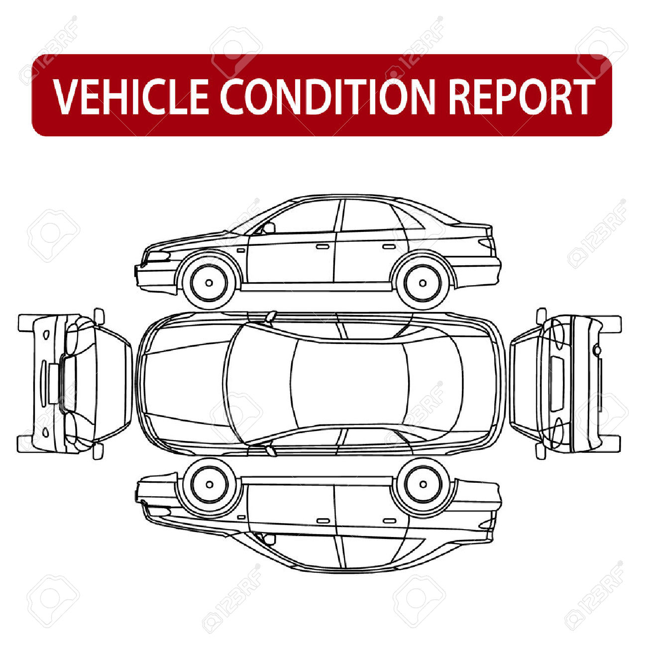 Vehicle Condition Report Car Checklist, Auto Damage Inspection.