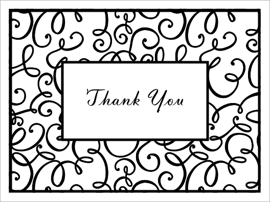 Thank you black and white thank you card clipart black and.