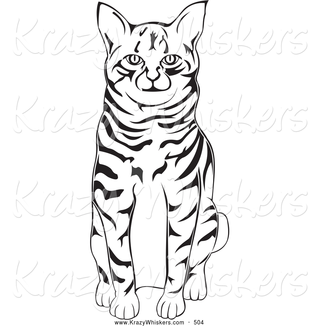 black and white clipart cat #6