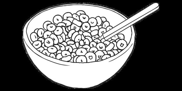 Cereal Black and White 1 Illustration.