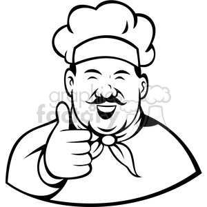 chef giving a thumbs up black white clip art clipart. Royalty.