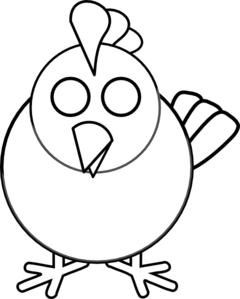 Cute Chicken Clipart Black And White.
