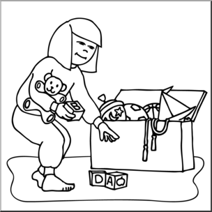 Pick Up Toys Clipart Black And White.