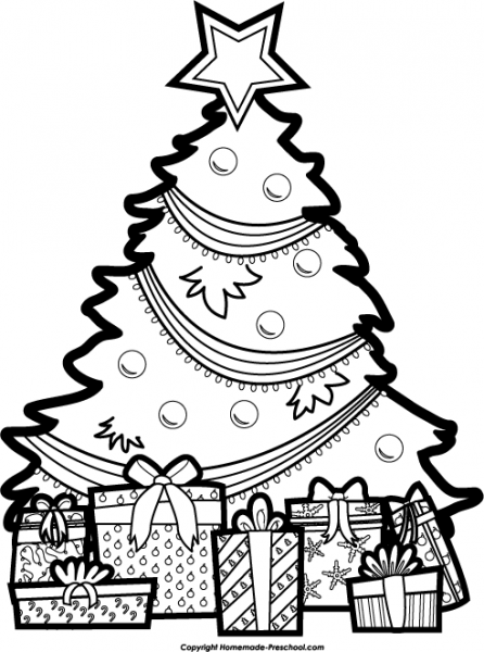 Christmas black and white clip art.