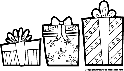 Black And White Clipart Christmas Gifts.