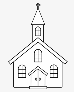 Free Church Black And White Clip Art with No Background.