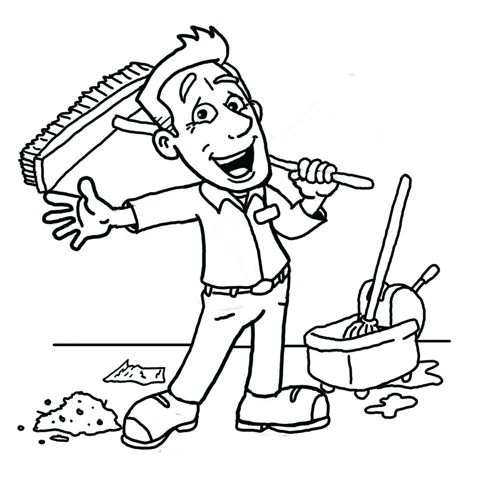 Clean Up Clipart Black And White.