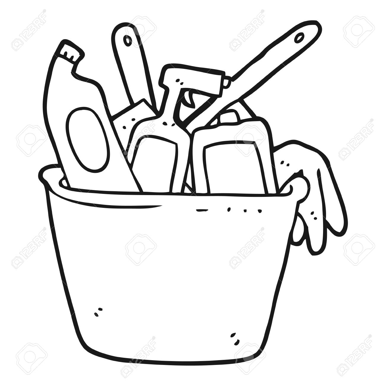 Black And White Cleaning Clipart.