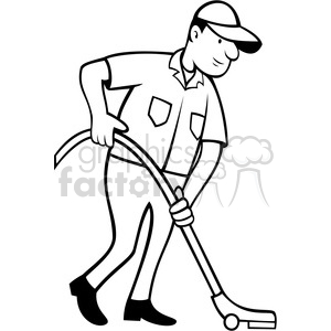 cleaner vacuuming the floor in black white clipart. Royalty.