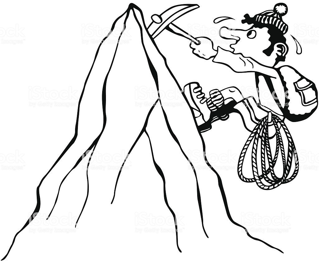 Black and white vector drawing of a man, who is climbering.