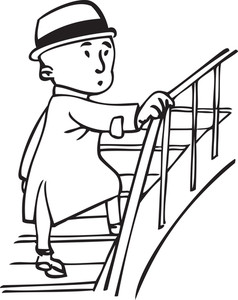 Illustration Of A Man Climbing On Stairs. Royalty.