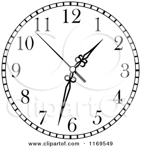 Clipart of a Black and White Wall Clock 3.