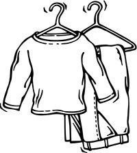 Put On Clothes Clipart Black And White.
