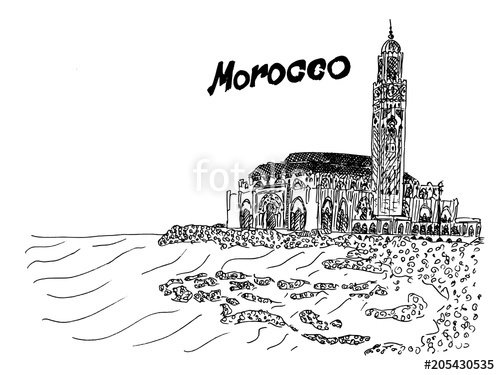 Morocco black and white illustration temple on the coast.