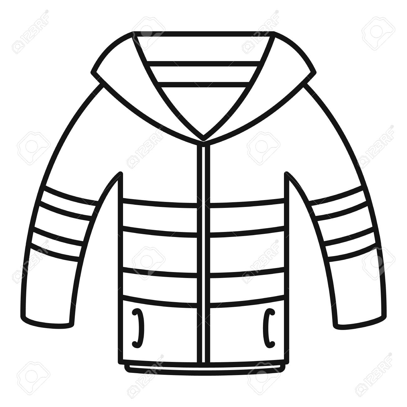 Outline Winter Coat Clipart.
