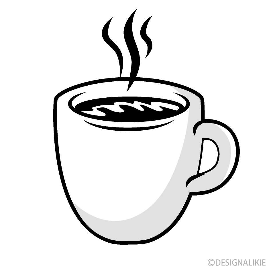 Free Coffee Mug Black and White Clipart Image|Illustoon.