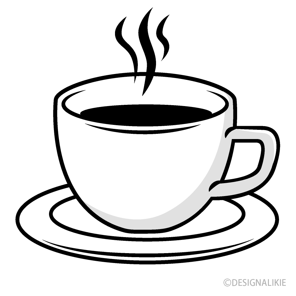 Free Coffee Cup Black and White Clipart Image|Illustoon.