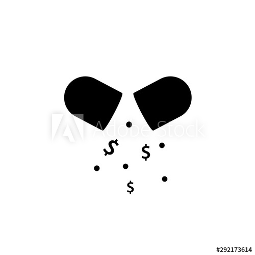 Healthcare costs black icon with pill. Clipart image.