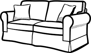 sofa black and white clip art.
