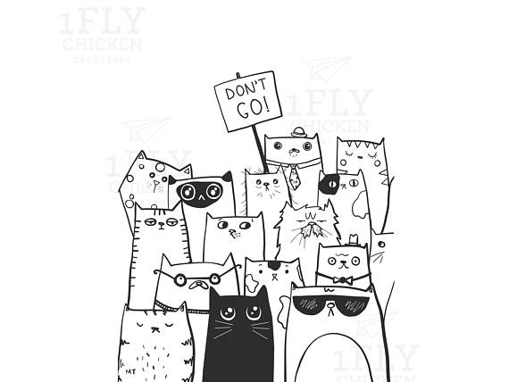 Printable Don\'t Go Goodbye Cats Greeting Card.