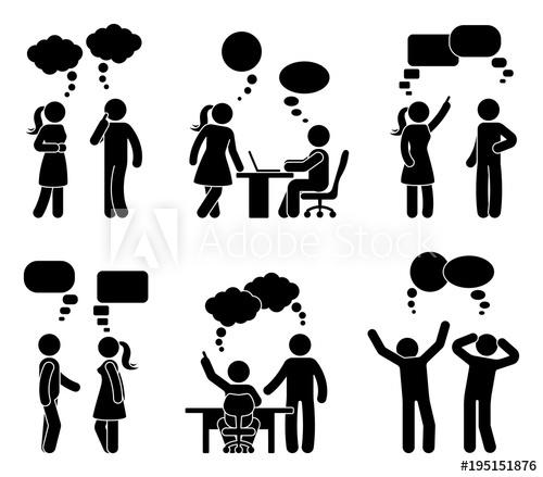 Stick figure office people speech bubble set. Vector.