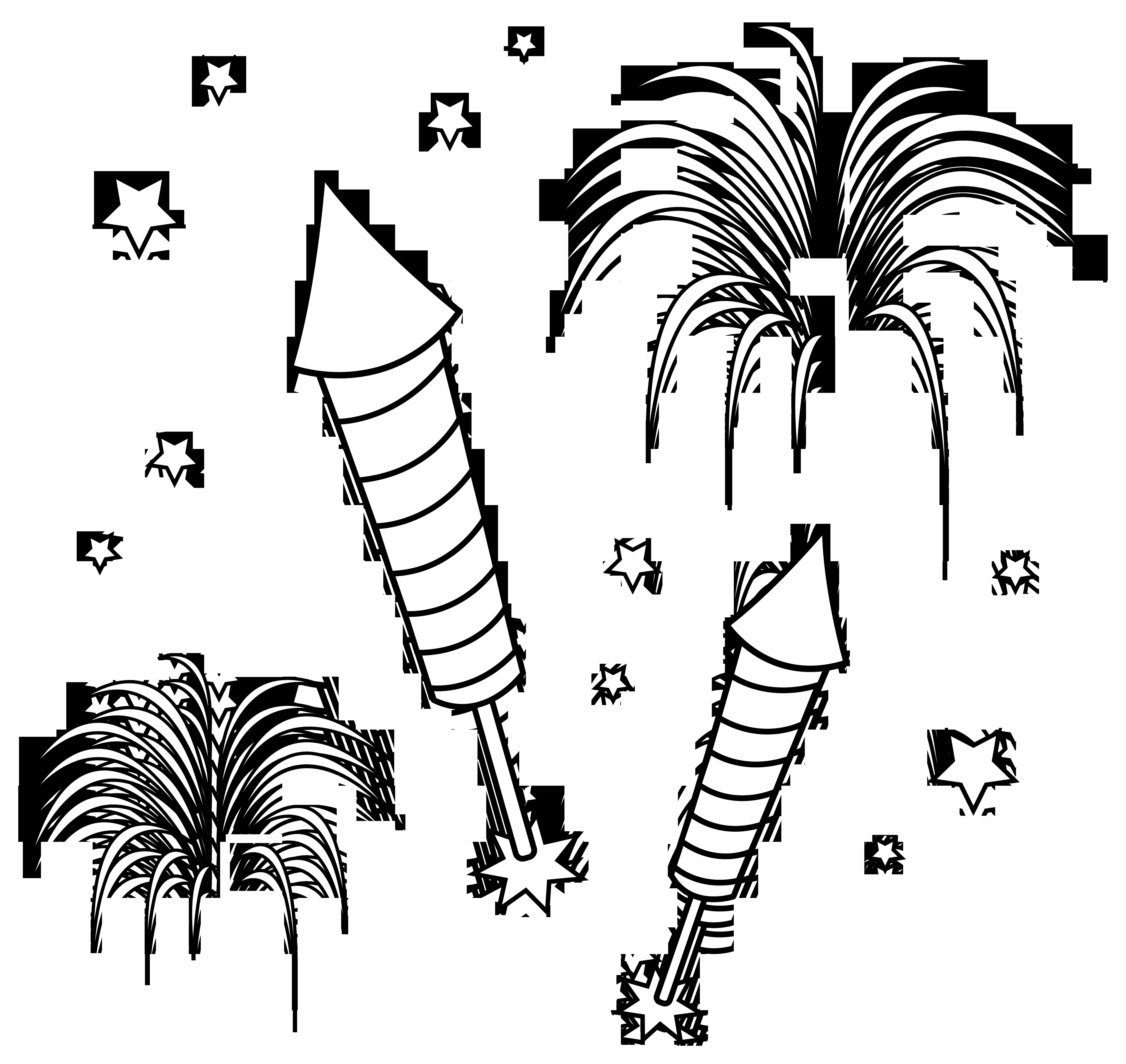 Diwali Crackers Black & White Clipart.