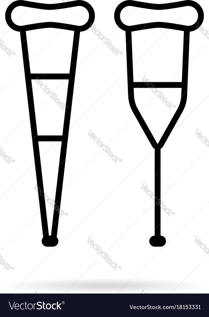 Simple black thin line crutch icon.