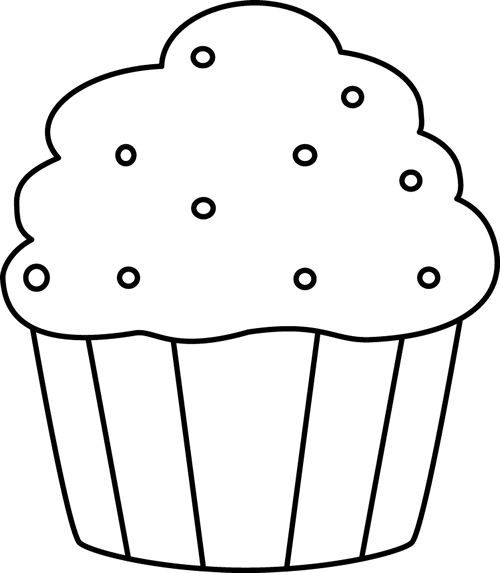 Black and White Cupcake with Sprinkles.