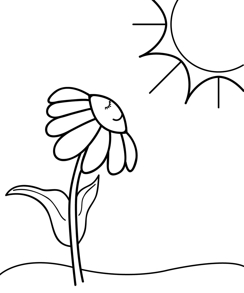 Spring day clipart black and white.