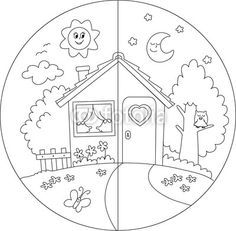 Day And Night Clipart Black And White.