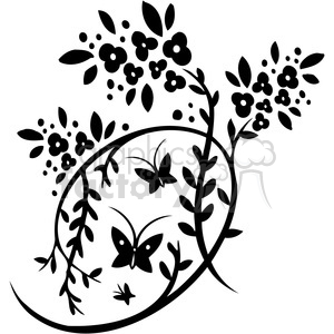 Chinese swirl floral design 084 clipart. Royalty.