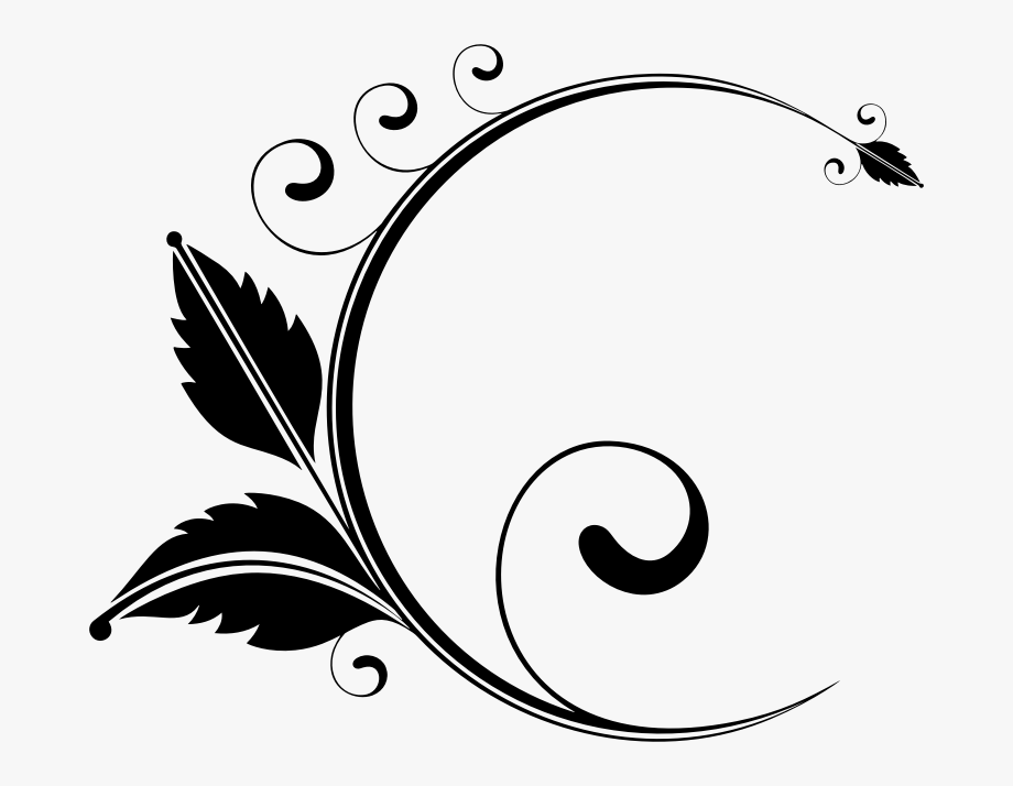 Floral Clipart Black And White , Png Download.