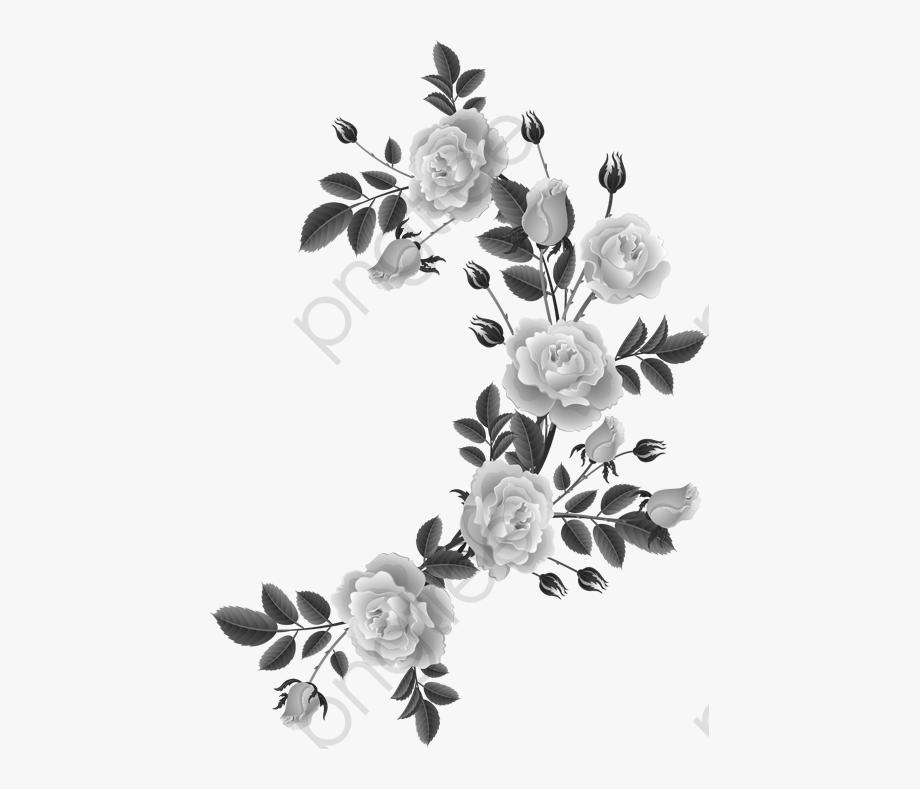 Rose Black And White Clipart Design.