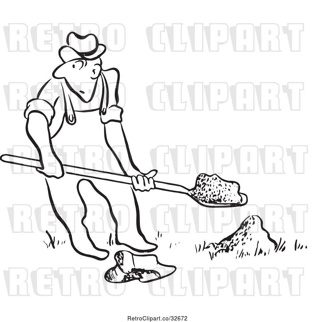 Vector Clip Art of Retro Cartoon Guy Digging by Picsburg.