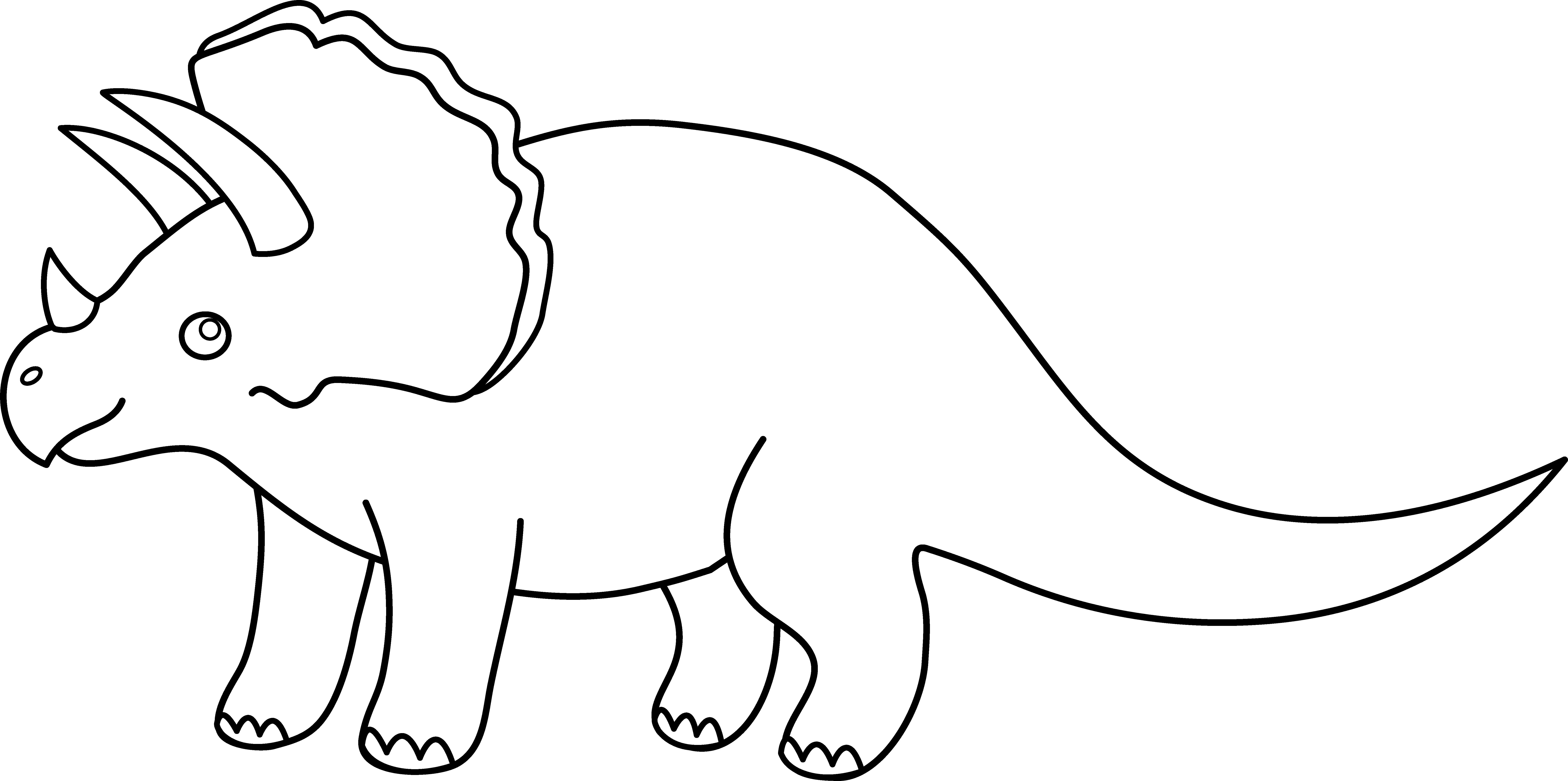 Cute Dinosaur Clipart Black And White.
