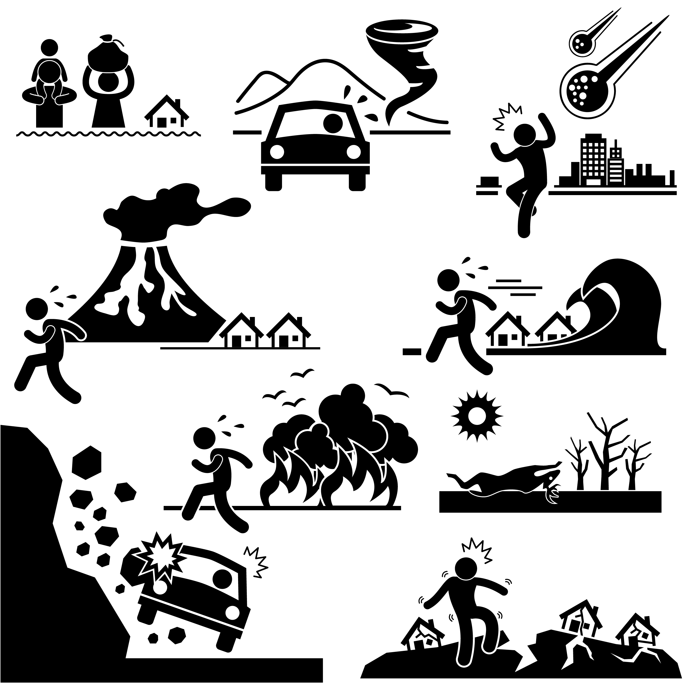 Disaster Doomsday Catastrophe Stick Figure Pictogram Icon.