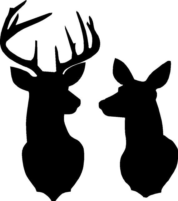 Doe And Deer Silhouette.
