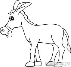 Donkey cartoon style clipart black white outline clipart.
