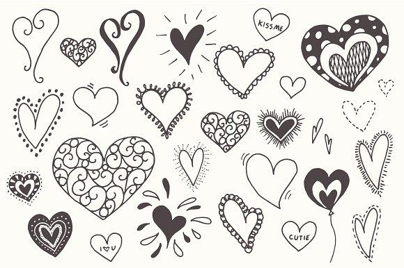 Doodle Hearts Clip Art.