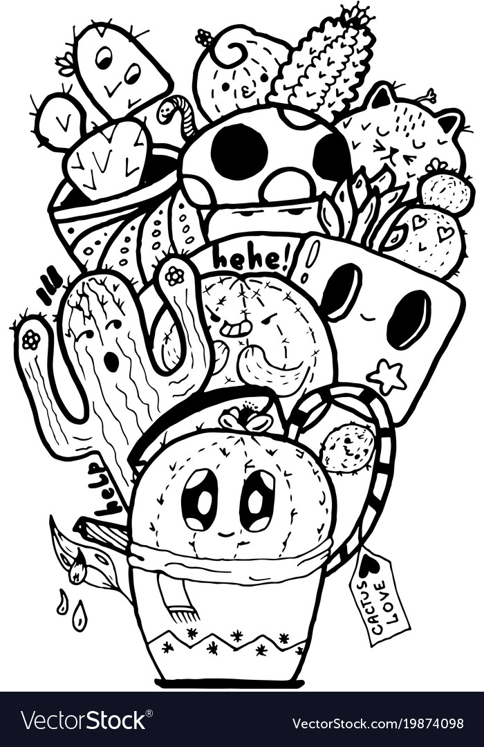 Cactus love easy doodle black and white isolated.
