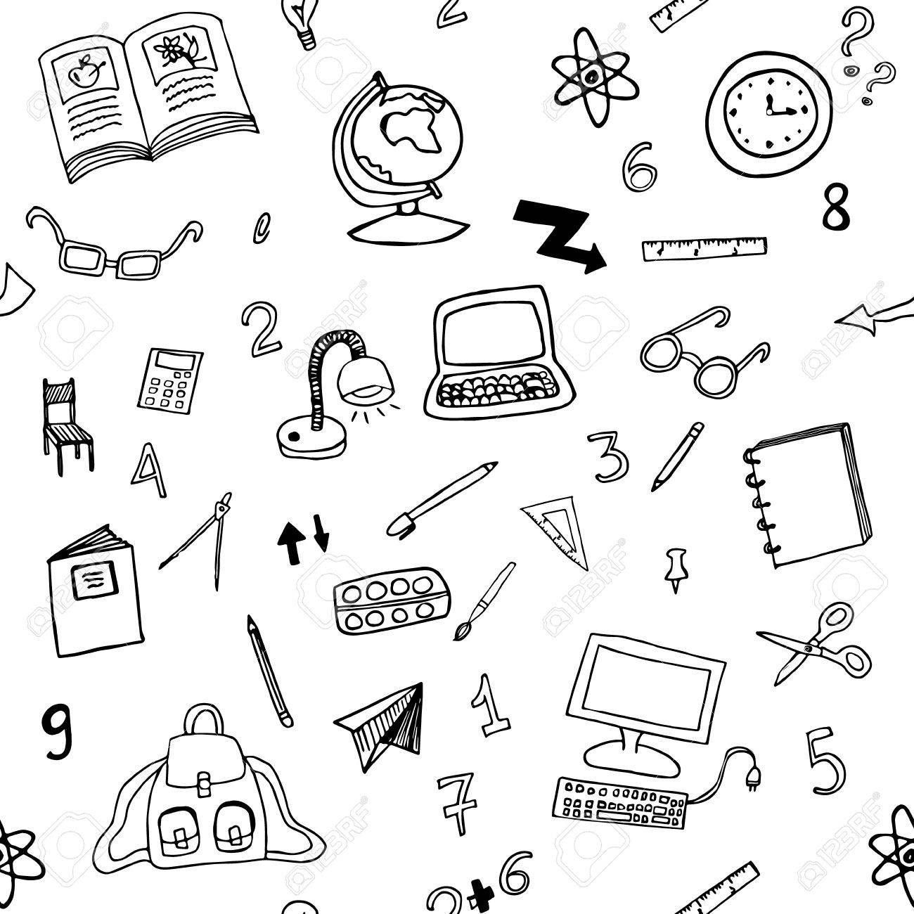 Doodle Seamless Pattern Of Classroom Objects With Numbers.