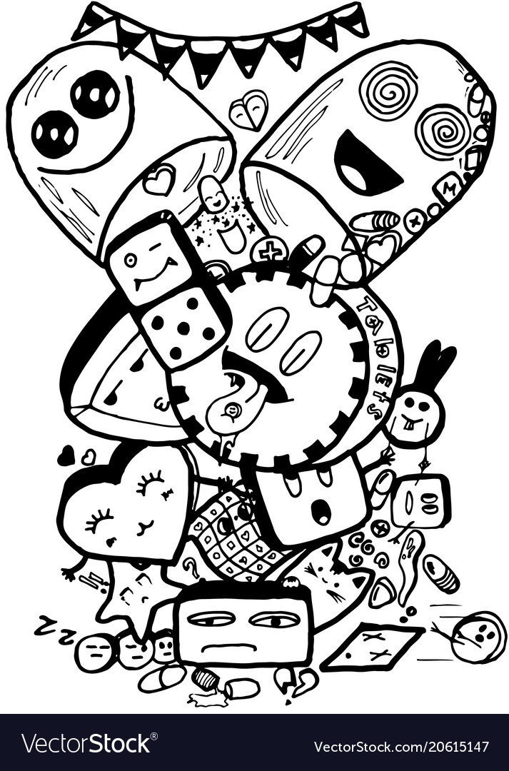 Pills easy doodle black and white isolated image.