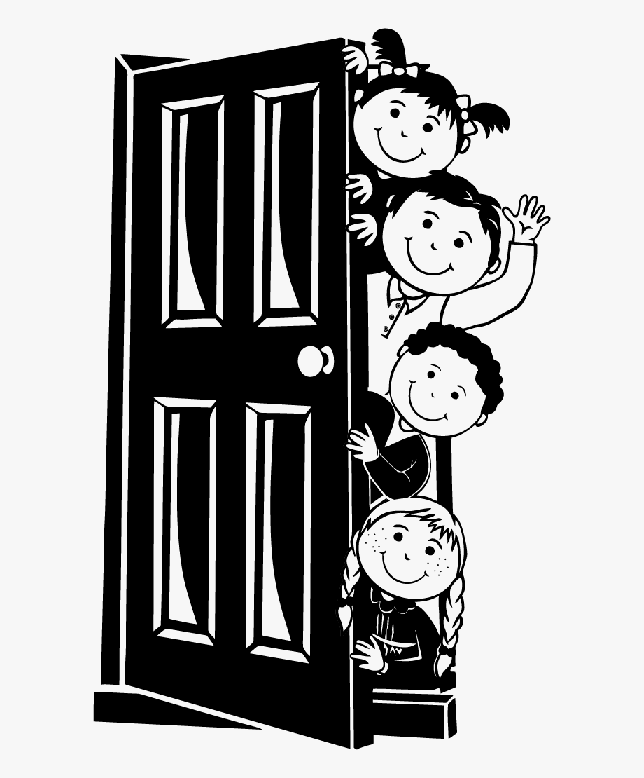Behind The Door Black And White Clipart , Transparent.