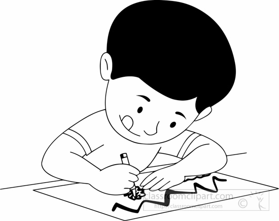 Black White Boy Drawing Clipart » Clipart Station.