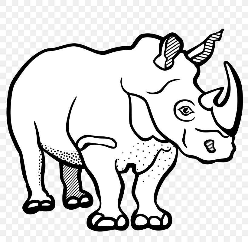 Rhinoceros Line Art Black And White Drawing Clip Art, PNG.