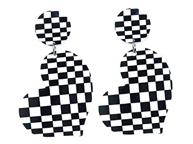 DesignedDazzle Black and White Checkerboard Checkered Flag Racing Flag  Earrings.