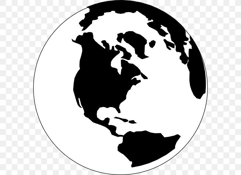 Globe World Black And White Clip Art, PNG, 594x597px, Globe.