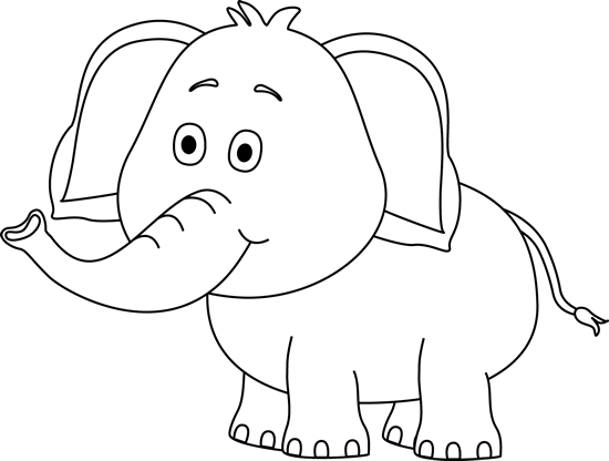 Cute Elephant Clip Art Black and White.