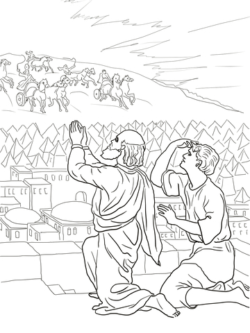 Elisha Fiery Army coloring page.